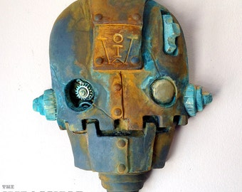 "Rusting Clockwork robot sculpture, Steampunk Wall Art, ""SkullBot"" - Rusting Iron with Brass Details, streetart, home and garden decor"