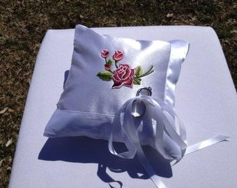 Wedding Ring  Bearer Pillow red rose white satin