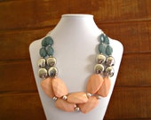 Coral and Teal statement necklace, Peach Teal Silver Statement necklace Tribal