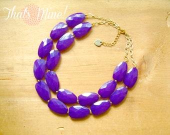 Deep Purple statement necklace, eggplant purple double strand necklace