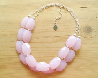 Blush Pink necklace, Blush pink bridesmaid necklace