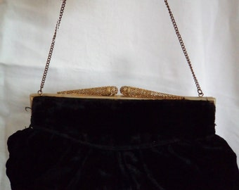 Vintage 1930s Black Velvet Short Chain Handled Purse/Handbag