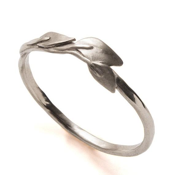 Leaves Ring 18K White Gold Wedding