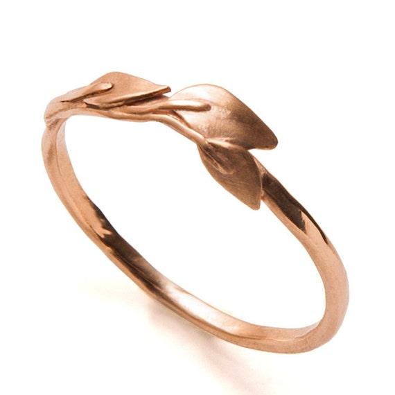 leaves ring 18k gold ring leaves wedding ring wedding