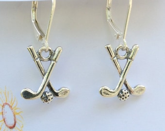 Earrings - Sterling Silver Crossed Golf Clubs with Golf Balls on Sterling Silver Leverback Hooks