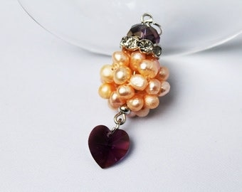 Pendant with freshwater pearls and Swarovski heart Bridal jewelry