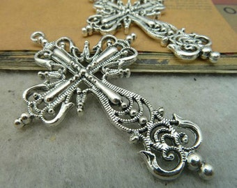 5pcs 42x63mm Antique Sliver Cross Charm Pendant