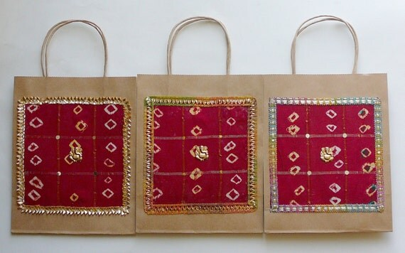 Wedding Gift Bags India : Gift Bags, Indian Wedding Gift Bags, Kraft Gift Bags, Red silk Bags ...