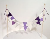 Cake Bunting/Cake Topper/Cake Banner/Flags. Dark Purple, Light Purple, Violet, Cream, Silver Glitter. Birthday - Wedding - Engagement.