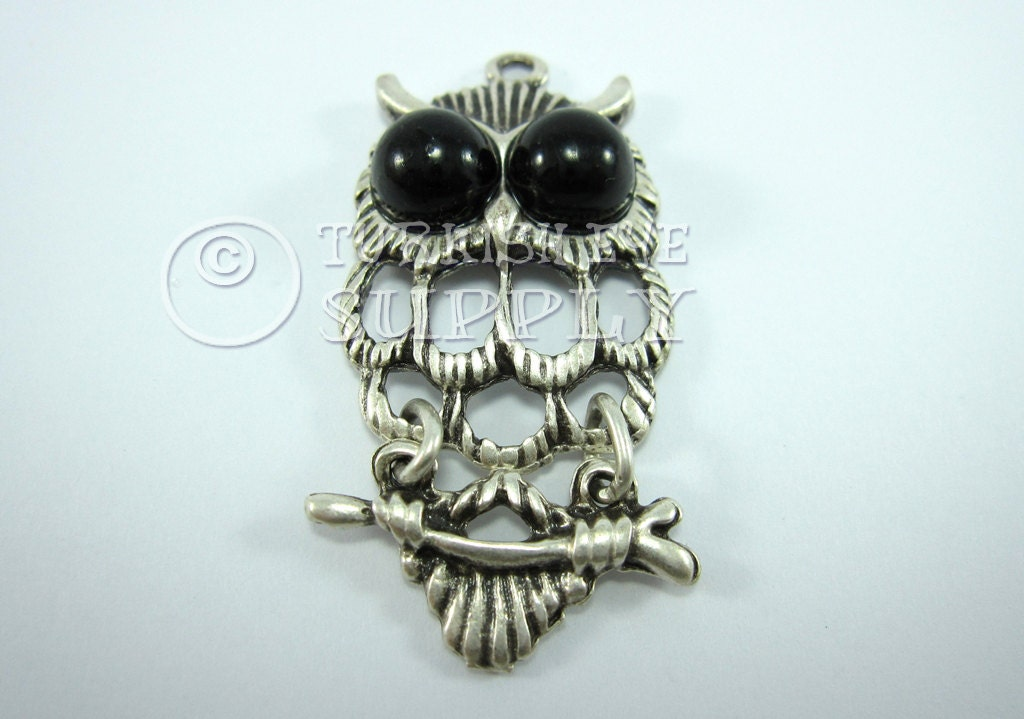 Big Black Eyed OWL Charm Pendant with 2 Sections, Antique Silver Plated, Good Luck Charm 22x47mm ...