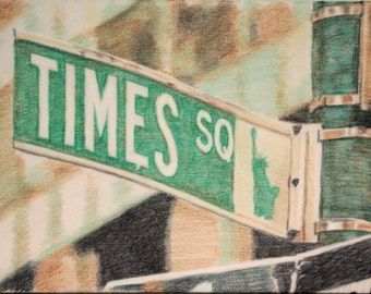 Drawing of a Times Square streetsign