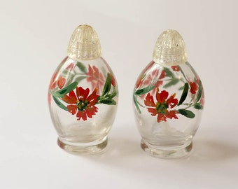 Glass Salt and Pepper Shakers Painted Vintage Red Flowers