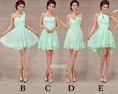 mint bridesmaid dresses, cheap bridesmaid dress, short dress, chiffon bridesmaid dress, mismatch bridesmaid dress, short prom dress, RE330 - okbridal
