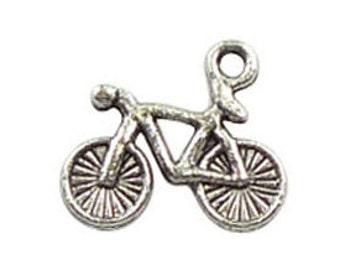 BULK 50 Silver Bicycle Charm Bike Pendant 14x16mm by TIJC SP0040B
