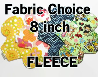 Your Choice of Fabric - 8 inch- Cotton Menstrual Pad - Pick Fabric and Absorbency - Fleece Back