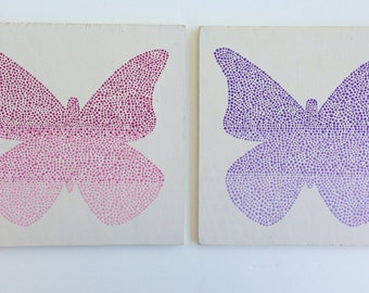 Set of Two, Hand Painted Nursery Art, Nursery Decor, Butterfly Painting, Kids Wall Art, Baby Girl Nursery, Wood Wall Art