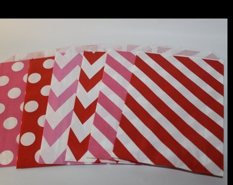 Valentines Day red and pink party Shower 12 Paper striped chevron polka dotted stripes goodie treat favor bags sacks class party