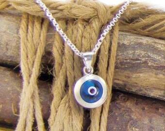 Blue Evil Eye Necklace, silver evil eye pendant necklace, eye charm, talisman necklace, greek mati, hamsa, kabbalah necklace