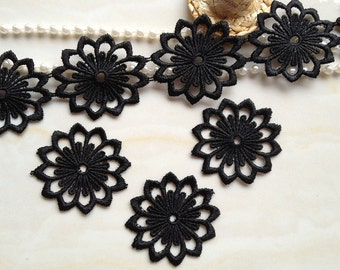 Pretty Black Venise Lace Trim for Appliques, Altered Couture, Sewing, Costume Design