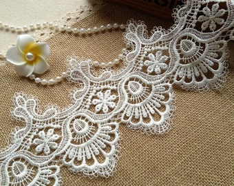 White Lace Trim Vintage Style For Costumes, Bridal, Wedding, Altered Couture