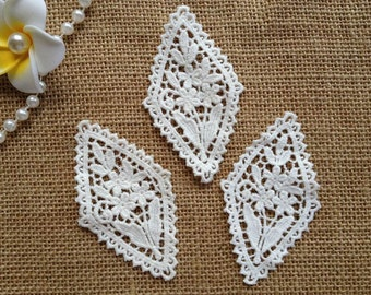 Off White Lace Applique, Cotton Lace Appliques, White Flower Applique, Costume Design