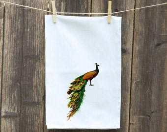 Peacock Kitchen Towel, Peacock Flour Sack Towel-Towel with Birds, Peacock on Kitchen Towel,Towels with bird Feathers -Kitchen-Peacock