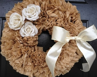 fall wreath,Coffee filter wreath, fall door wreath, wreath for fall, fall decor, door wreaths