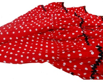 FRENCH vtg 50's FLAMENCO skirt // ruffled red polka dots 50s skirt // small size 10 to 12 years old