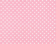SALE - Premier Prints Dottie Baby Pink and White Fabric - Polka Dot Pink Fabric by the half yard