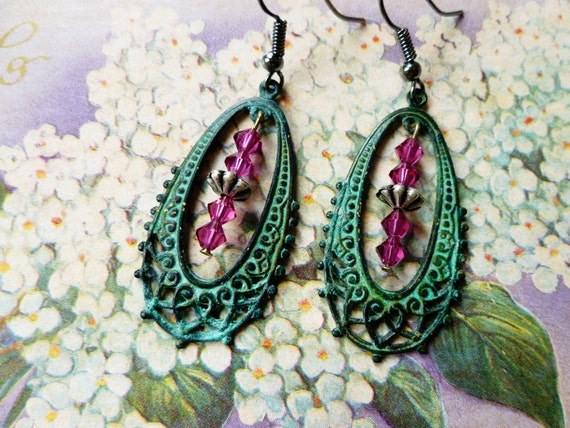 verdigris filigree hoop earrings