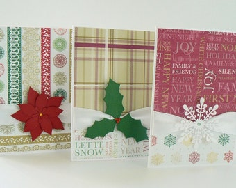 Christmas Card Set of 10 Elegant Handmade Cards with Satin Ribbon and handmade 3D Embellishment - Holly Berry, Snowflake and Poinsettia mix