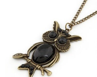 Black Owl Necklace, owl necklace, owl jewelry, owl pendant, black owl necklace, black owl, black necklace, owl, owls, necklace, jewellery