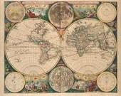 John Seller, Antique Map of the World, 1672