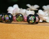 Rose bead black bracelet - jade green pink black gold rose bracelet