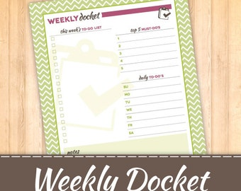 Weekly To Do List- Weekly Docket