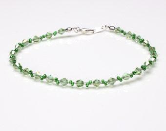 Swarovski Crystal Green Chrysolite and Chrysolite Seedbead Bracelet