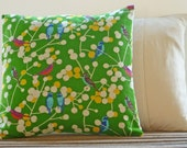 Decorative Throw Pillows Cushions Pair, Green Birds Linen Handmade in UK