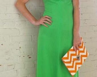 Ursula of Switzerland Lime Green Halter Dress 1970's