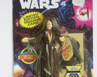 Rare Obi Wan Kenobi Bend-Ems STAR WARS Collectable Figure -Plus Limited Edition TOPPS Trading Card