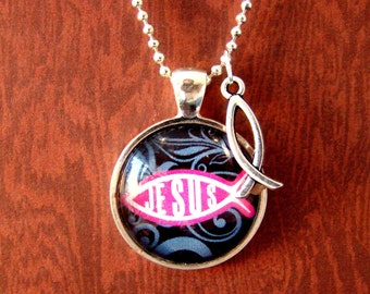 Jesus Pendant with charm and chain included, Quotation Pendant, Inspirational Jewelry, Religious Pendant