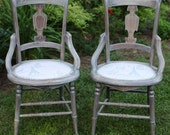 Vintage Victorian Chairs - 1800's Antique Restored Liming White Wash Wax French Pink Script Fabric Pewter Upholstery Tacks Nails - Chair