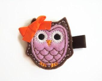 Girls hair clips: Owl hair clip, Felt hair clip, Fall hair clip.