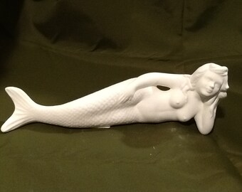 Reclining mermaid, ceramic bisque ready to paint
