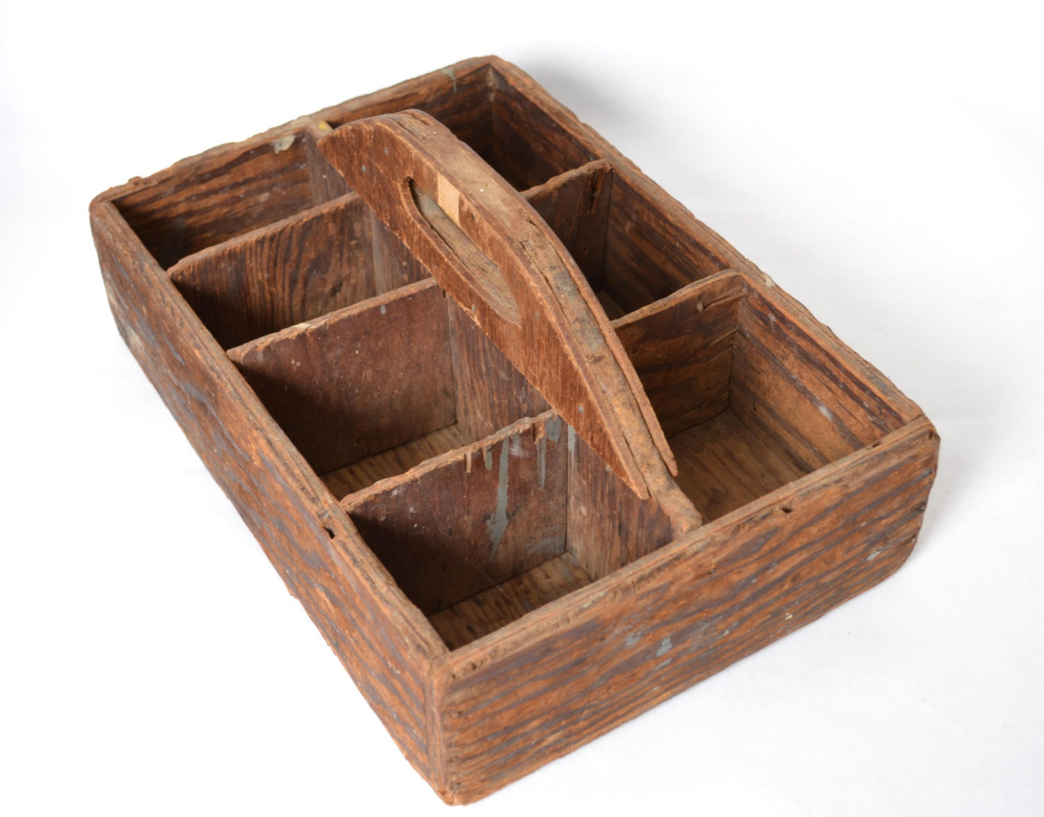 Vintage wooden crate with handle antique carpenter 39 s nail for Timber crates