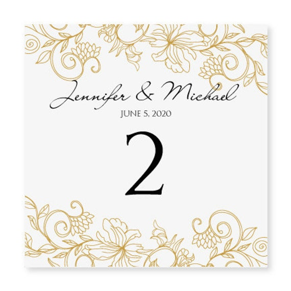Instant download wedding table number card by for Table design numbers
