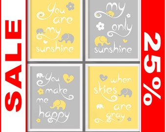 SALE you are my sunshine baby room wall art, you are my sunshine wall art, nursery rhyme prints, sunshine nursery wall art, nursery quotes