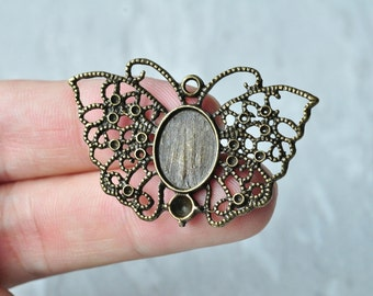 8pcs 14x10mm Antique Bronze Filigree Butterfly Oval Cameo Cabochon Base Setting Charm Pendant 45x28mm PP046