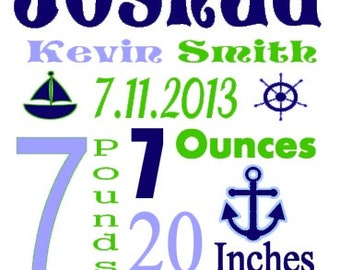 Personalized Baby Birth Annoucement Stat Wall Art Boy Nautical Nautica Zachary Boat Name Bedding