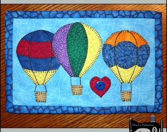 PDF Pattern for Hot Air Balloon Mug Rug, Summer Mug Rug Pattern, Mini Quilt Pattern - Sewing Pattern, Tutorial, DIY