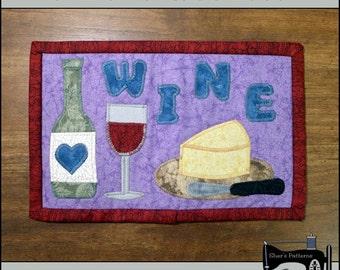 PDF Pattern for Wine Lovers Mug Rug, Wine Mug Rug Pattern, Wine Mini Quilt Pattern - Sewing Pattern, Tutorial, DIY